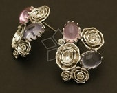 SI-410-OR / 2 Pcs - Rose Bouquet Earrings, Silver Plated, with .925 Sterling Silver Post / 18mm x 23mm