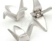 AC-144-MS / 4 Pcs - Folded-Paper Crane Beads, Matte Silver Plated over Pewter / 23mm x 10mm