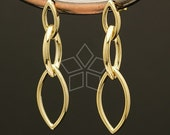 SI-325-GD / 2 Pcs - Marquise Link Earrings, Gold Plated over Brass Body with .925 Sterling Silver Post / 11mm x 41mm