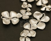 AC-398-MS / 2 Pcs - NEW Triple Cute Flower Connector, Matte Silver Plated over Brass / 14mm x 35mm