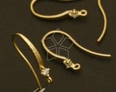 EA-087-MG / 2 Pcs - Elegant Cubic Ear Wires, Matte Gold Plated over Brass / 17mm