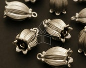 PD-357-MS / 4 Pcs - Tulip Bell Pendant, Matte Silver Plated over Brass / 9mm x 14mm