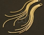 AC-053-GD / 4 Pcs - Chain Tassel Pendant, Gold Plated over Brass / 5mm x 75mm