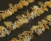 CH-051-GD / 40 cm - Chain Mini Leaf Charms, 16K Gold Plated over Brass / 5mm x 10mm