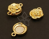 CS-040-GD / 2 Pcs - Rose Flower Magnetic Clasp, Gold Plated over Brass / 11.5mm