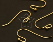 EA-025-GD / 20 Pcs - Ball Point Hook Ear Wires, Gold Plated over Brass / 20mm x 13mm