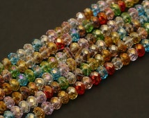 GM-C15-MT / 1 Strand - 3mm Faceted Crystal Rondelle Beads (Multi Color) / 3mm x 2.5mm