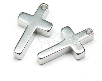 PD-062-OR / 10 Pcs - Mini Cross Charm, Silver Plated over Brass / 7mm x 12mm