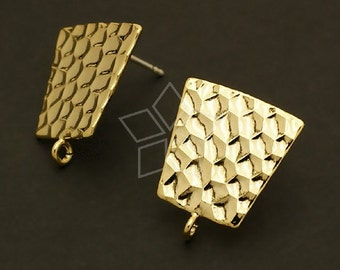 SI-370-GD / 4 Pcs - Snake Pattern(Square) Earring Findings / 15mm x 15mm
