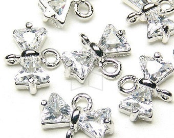 PD-043-OR / 4 Pcs - Cubic Zirconia Ribbon (Ctystal) Connector, Silver Plated Brass Body / 9mm x 4mm