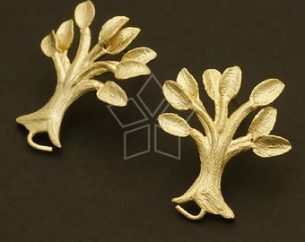 SI-394-MG / 2 Pcs - Lemon Tree Earrings, Matte Gold Plated, with .925 Sterling Silver Post / 18mm x 21mm