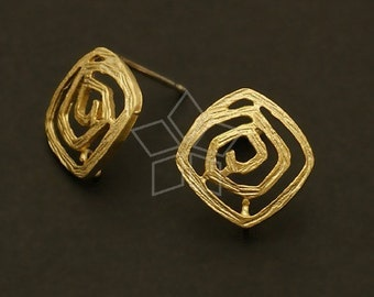 SI-372-MG / 4 Pcs - Maze Earring Findings, Matte Gold Plated, with .925 Sterling Silver Post / 12mm x 12mm