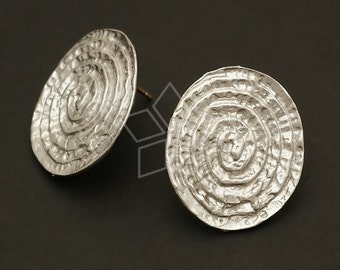 SI-361-MS / 2 Pcs - African Shield Earring Findings, Matte Silver Plated over Brass Body with .925 Sterling Silver Post / 15mm x 24mm
