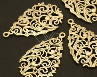 PD-152-MG / 2 Pcs - Paisley Carved Drop Pendant, Matte Gold Plated over Brass / 15mm x 25mm