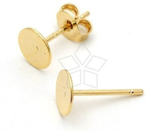 SI-157-GD / 10 Pcs - 6mm Flat Pad Earring Posts, 16K Gold Plated over Brass Flat Pad with .925 Sterling Silver Post / 6mm