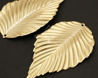PD-150-MG / 4 Pcs - Natural Leaf Pendant, Matte Gold Plated over Steel / 31mm x 54mm