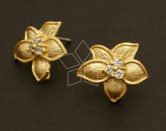 SI-403-MG / 2 Pcs - Tropic Flower Earrings, Matte Gold Plated, with .925 Sterling Silver Post / 17mm x 14mm