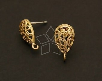 SI-290-MG / 4 Pcs - Paisley Drop Earring Findings, Matte Gold Plated over Brass Body with .925 Sterling Silver Post / 8mm x 13mm