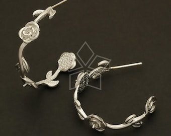 SI-276-MS / 2 Pcs - Rose Stem Earrings, Matte Silver Plated, with .925 Sterling Silver Post / 26mm