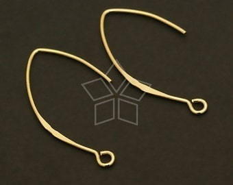 SI-279-GD / 2 Pcs - Modernistic Linear Hook Ear Wires, 16K Gold Vermeil over .925 Sterling Silver / 35mm