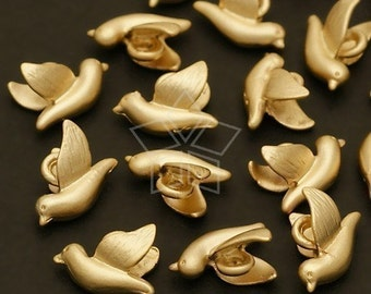PD-193-MG / 8 Pcs - Micro Bird Charm, Matte Gold Plated / 9mm x 7mm