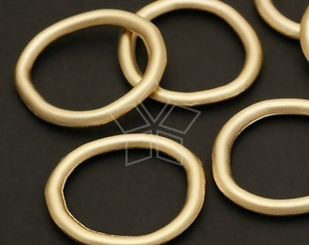 AC-296-MG / 4 Pcs - Vintage Ring Connector, Matte Gold Plated over Pewter / 24mm Diameter