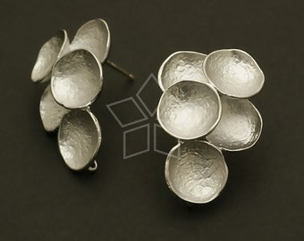 SI-357-MS / 2 Pcs - Concave Earring Findings, Matte Silver Plated over Brass Body with .925 Sterling Silver Post / 16mm x 22mm