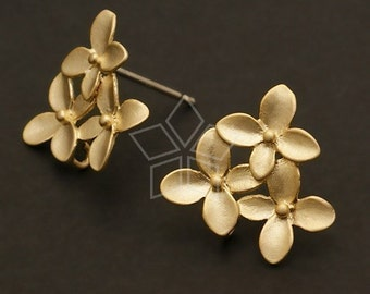 SI-135-MG / 2 Pcs - Cherry Blossom Earring Findings, Matte Gold Plated over Brass Body with .925 Sterling Silver Post / 14mm x 15mm