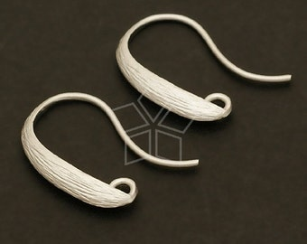 EA-043-MS / 4 Pcs - Solid Line Hook Ear Wires, Matte Silver Plated over Brass / 18mm