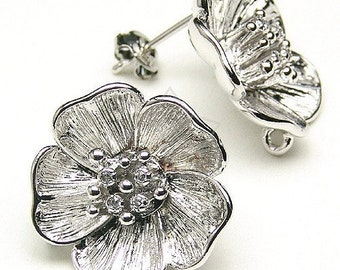 SI-060-OR / 2 Pcs - Big Flower Earring Findings, Silver Plated over Brass Body with .925 Sterling Silver Post / 18mm