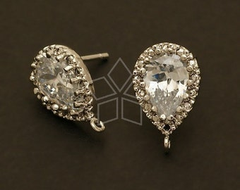 Sale ! /20 pcs / SI-378-OR / Pear Cut CZ Earrings, Silver Plated, with .925 Sterling Silver Post / 9mm x 14mm