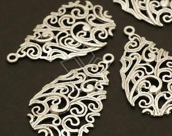 PD-151-MS / 2 Pcs - Paisley Carved Drop Pendant, Matte Silver Plated over Brass / 15mm x 25mm