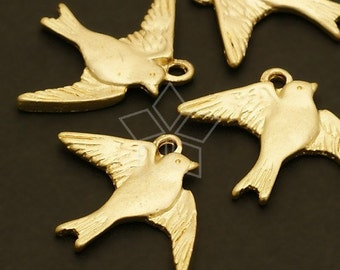 PD-201-MG / 4 Pcs - Swallow Pendant (Medium), Matte Gold Plated over Pewter / 22mm x 17mm