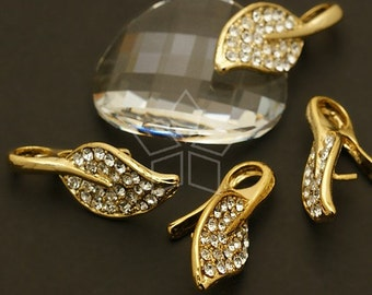 PS-055-GD / 1 Pcs - Grand Leaf Pendant Bail, 16K Gold Plated over Brass / 10mm x 26mm