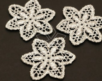 AC-361-MS / 2 Pcs - Lace Flower Pendant, Matte Silver Plated over Pewter / 24mm x 28mm