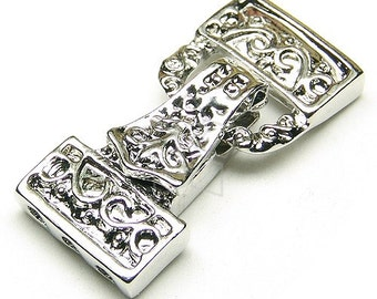 CS-004-OR / 2 Pcs - Magnetic Clasp Fold over Buckle(3 Holes), Silver Plated over Brass / 32mm x 14mm