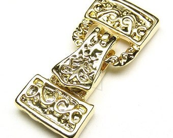 CS-026-GD / 2 Pcs - Magnetic Clasp Fold over Buckle (3 Holes), 16K Gold Plated over Brass / 32mm x 14mm