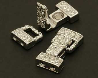 CS-006-OR / 2 Pcs - Magnetic Clasp Fold over Buckle (2 Holes), Silver Plated over Brass / 20mm x 11mm