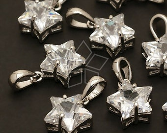 PD-039-OR / 2 Pcs - Cubic Star Charm Pendant, Silver Plated over Brass / 10mm x 19mm