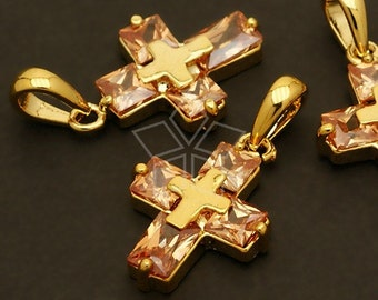 PD-038-GD / 2 Pcs - Cubic Cross Charm Pendant, 16K Gold Plated over Brass / 14mm x 25mm