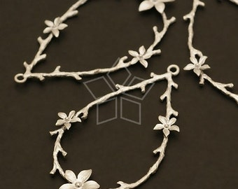 PD-225-MS / 2 Pcs - Branch and Blossoms Pendant, Matte Silver Plated over Brass /  23mm x 38mm