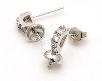SI-161-OR / 2 Pcs - Cubic Harp Earring Findings, Silver Plated over Brass Body with .925 Sterling Silver Post / 10mm