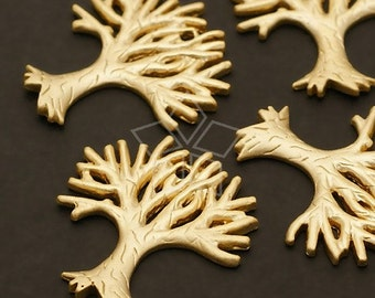 PD-230-MG / 2 Pcs - Leafless Tree Pendant, Matte Gold Plated over Brass / 17mm x 19mm