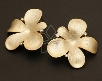 SI-424-MG / 2 Pcs - BIG Orchid Floret Earrings, Matte Gold Plated, with .925 Sterling Silver Post / 30mm x 31mm