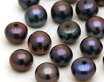 PL-020-FP / 6 Pcs - (Dark Gray) Fresh Water Pearl, Half-drilled Button / 6mm