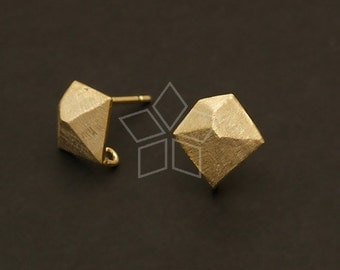 SI-429-GD / 4 Pcs - Facet Earring Findings, Gold Plated, with .925 Sterling Silver Post / 10mm x 10mm