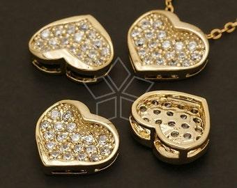 PD-239-GD / 2 Pcs - Bling-Bling Heart Pendant, 16K Gold Plated over Brass / 14mm x 12mm