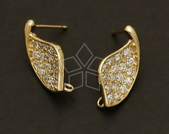 SI-321-GD / 2 Pcs - Windy Leaf Earring Findings, 16K Gold Plated over Brass Body with .925 Sterling Silver Post / 9mm x 18mm