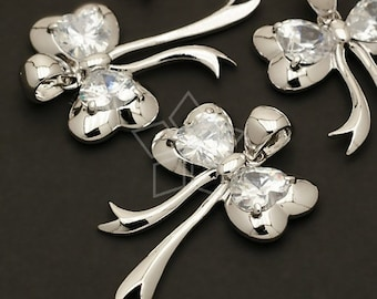 PD-128-OR / 2 Pcs - Sweet Ribbon Pendant (Big), Silver Plated over Brass / 24mm x 38mm