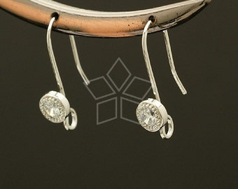 EA-031-OR / 2 Pcs - Stone Point Hook Ear Wires, Silver Plated over Brass / 22mm